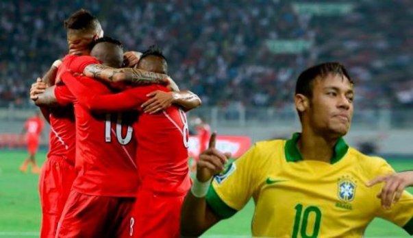 Neymar celebra el 2-1 frente a Perú