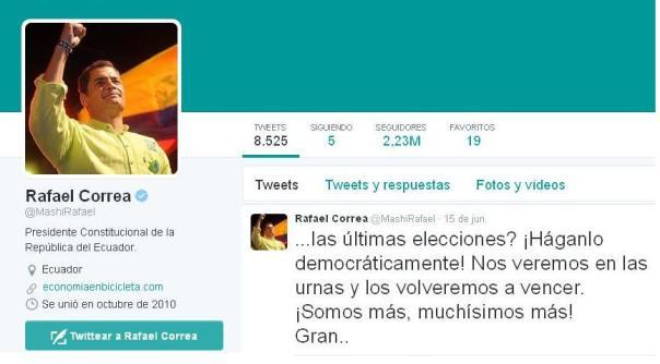 Rafael Correa desde Twitter