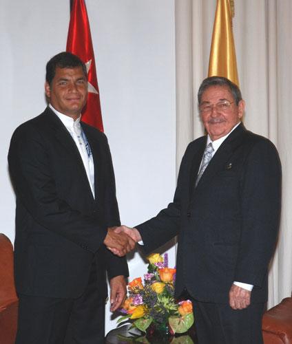 Rafael Correa y Raúl Castro