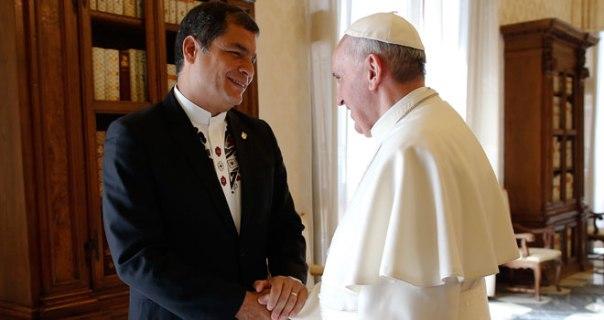 Rafael Correa y el Papa Francisco