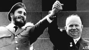 Fidel Castro y Nikita Jrushov