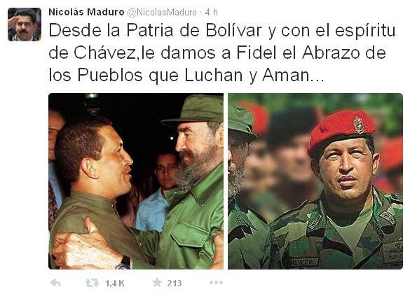 Tweet de Maduro a Fidel 1