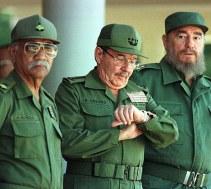 Almeida junto a Raúl y Fidel