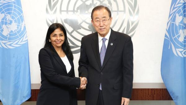 Canciller Delcy Rodríguez con Ban Ki-moon