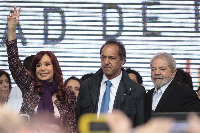 Cristina, Scioli y Lula