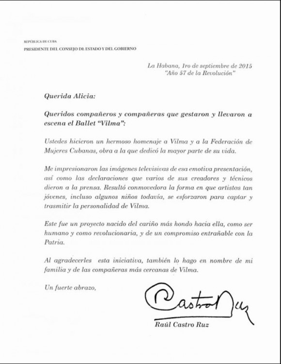 Mensaje de Raúl Castro a Alicia Alonso