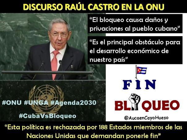 Raúl en la ONU tema Bloqueo