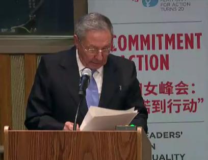 Raúl en ONU en Conferencia sobre igualdad de género