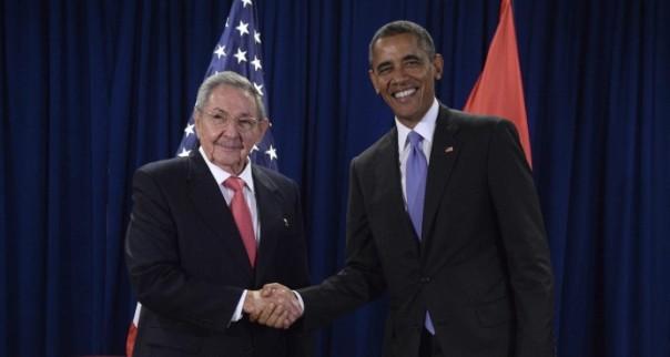 Raúl y Obama en la ONU 2