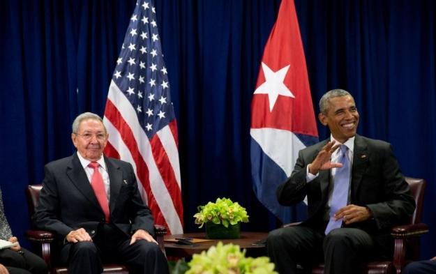 Raúl y Obama en la ONU