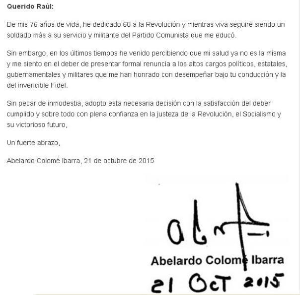 Carta Ministro del Interior a Raúl