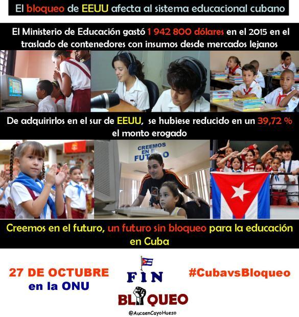 El bloqueo afecta a la educación cubana