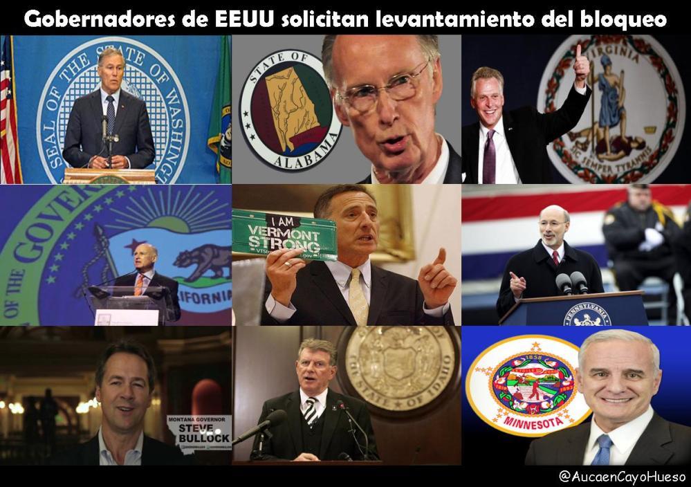 Gobernadores de EEUU solicitan fin del bloqueo
