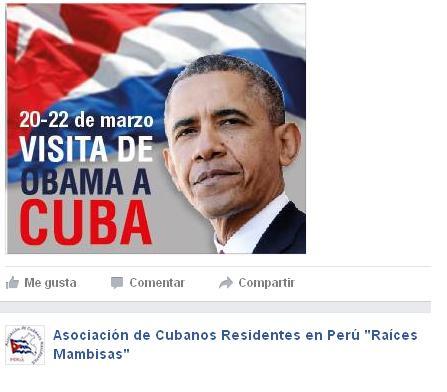 Asociación de Cubanos Residentes en Perú saludad visita Obama a Cuba