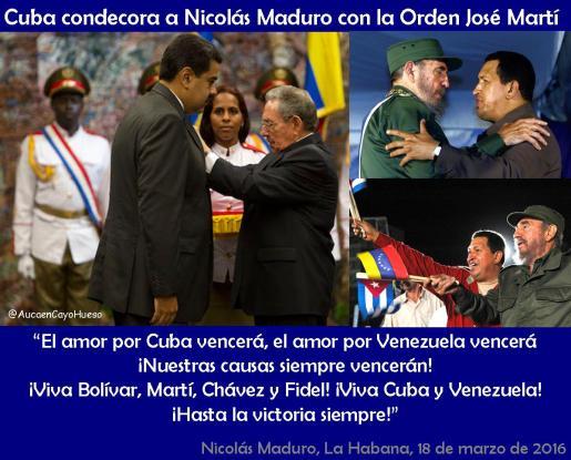Cuba condecora a Nicolás Maduro con la Orden José Martí