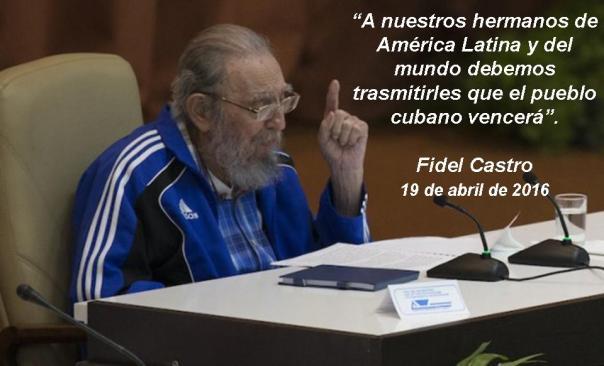 Fidel Castro en la clausura del VII Congreso del PCC