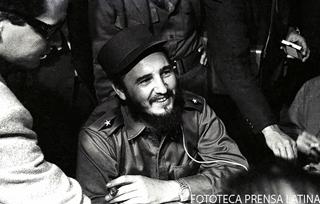 Fidel Castro Ruz Primer Ministro cubano, durante su visita a Nueva York para participar en la XV Asamblea General de Las Naciones Unidas (ONU). Foto: PL Fecha: 00.09.1960 Fuente: PL Tipo de Material: B/N