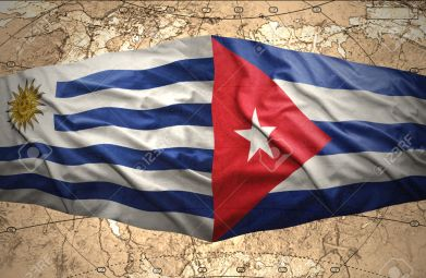 Waving Cuban and Uruguayan flags on the of the political map of the world